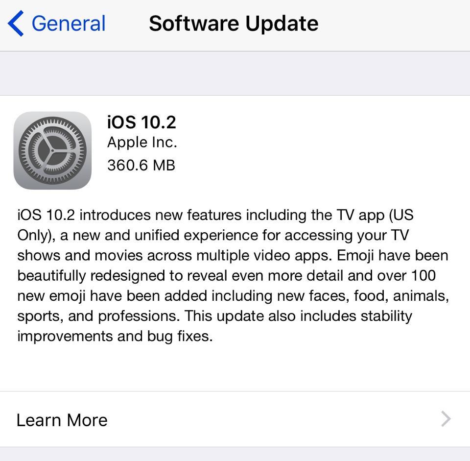 Apple IOS 10.2 Released