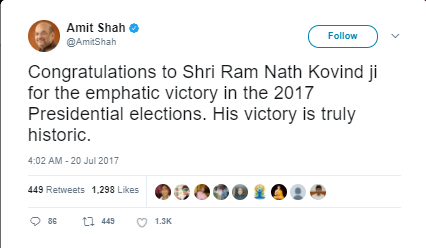 Amit Shah Wish Ram Nath Kovind , President of India