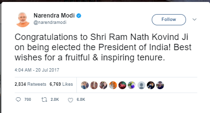 PM Modi Wish Ram Nath Kovind, President of India