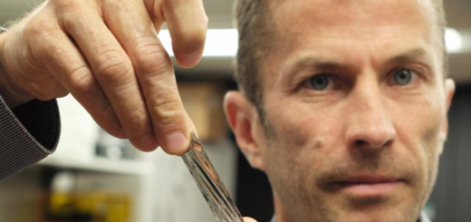 IBM scientist Dr Mark Lantz holds the sputtered tape which store around 330 tb data
